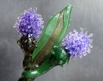 Glass Thistle Purple. Glass Long Stem Flowers, Outlander Scottish Irish Lampwork Flower Hand Blown Boro Thistles
