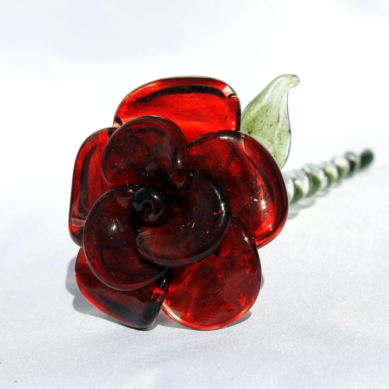 red glass rose long stemmed glass flower forever untamed rose. Black Bedroom Furniture Sets. Home Design Ideas