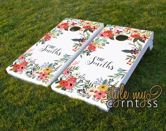 Custom Cornhole Boards - Floral Monogram - Bohemian Corntoss - Boho Art -  Custom Wedding Game