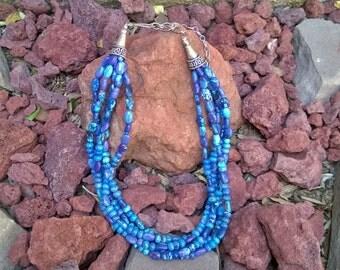 Vintage Rocki Gorman Dyed Agate Beaded Necklace