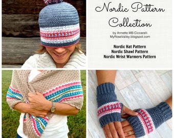 Nordic Pattern Collection E-book - Crochet Pattern - UK/US/SWEDISH terms - Pdf pattern - Instant download