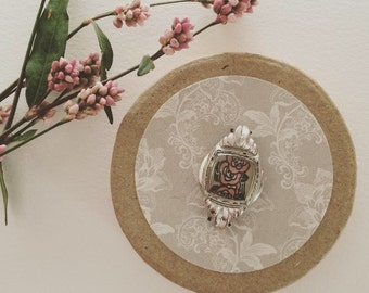 Unique Gift Box Keepsake Box Round Box Gift For Her Feminine Girly Gift Antique Watch Face Floral