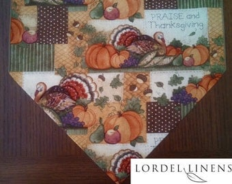 "Thanksgiving Table Runner, Small Thanksgiving Table Runner, Praise and Thanksgiving, Turkeys and Pumpkins Table Runner, 36"" Table Runner"