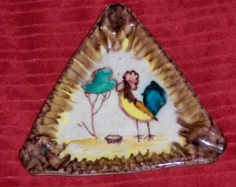 Vintage Folk Art Rooster Dish Triangle Ashtray Italy Italian Art Pottery Bird Plate #1054