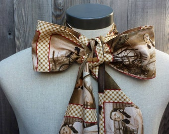 Upcycled Steampunk Clothing, Wizard of Oz Bow Tie - Wizard of Oz (Sepia Cotton Print) Neck Tie