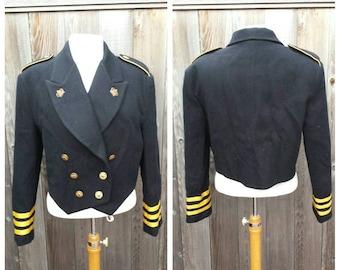 Vintage Wool Military Jacket, Designer Hugo Buscati, 100% Wool, Black Wool Jacket, Estimate Adult Medium