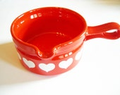 Rustic Red German Waechtersbach Vintage Sauce Dish with Hearts Made in West Germany Ceramic from 70ies