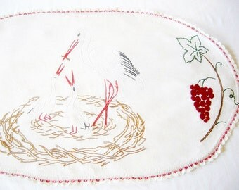 Lovely German Vintage Handembroidery Linen Oval Doily with Storks/ The perfect baby gift for expecting parents