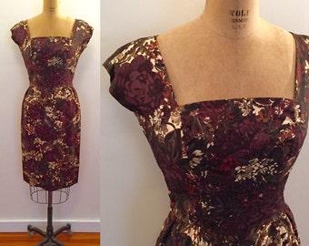 Brown winter floral silk cap sleeve 60s dress