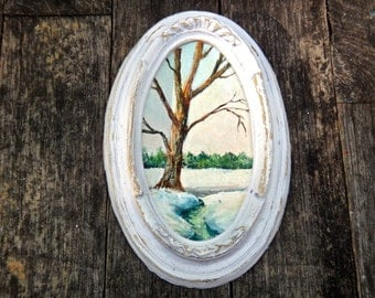 Painting, Oval Frame, Vintage Art, Small Framed Art, Snowy Landscape, Hostess Gift, White Oval Frame, White Frame, Vintage Art, Rustic