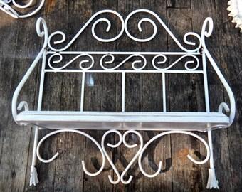 Shelf, Storage Shelf, Wall Organizer, French Country, Metal Shelf, Powder Room, Painted Shelf, White Shelf, Cottage Kitchen, Open Shelves
