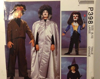 Witch, Beast, Bride and Frankenstein Costume Pattern McCalls P398 Size 8, 10