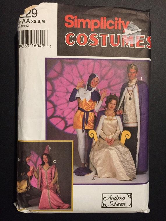 Simplicity Sewing Pattern 90s 9229 Misses', Men's and Teens Medieval Costumes King, Queen, Jester, Knight and Princess Size XS-M 30-40