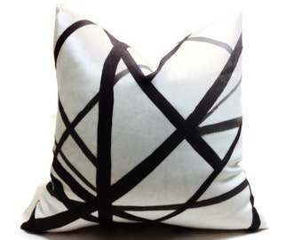 Kelly Wearstler Channels Pillow, Black Pillow  Decorative Pillow Cover