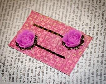 Jane Austen Mansfield Park Inspired Pink Roses Hairpins by Austentation