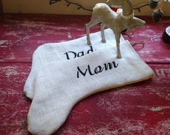 White burlap stocking personalized