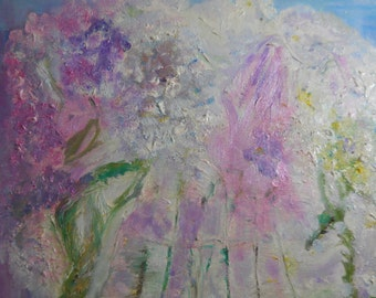 Lavender Dream Art, French Impressionism, Abstract Impressions, Healing Art, vase flower petals praying hands, oil paint, Kathleen Leasure