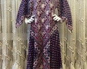 1970s angel sleeve Indian block print cotton festival caftan tunic dress