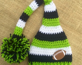 Baby Boy Seattle Seahawks hat, Elf Hat,Stocking Hat, Football, Navy,Lime Green, White Stripes Newborn Photo Prop, Choose ANY TEAM COLOR