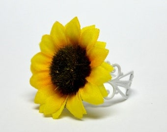 Mini Sun Flower Ring with White Enamel Ring Band - Silk Flower Ring - Garden Party Ring - Nature Inspired Jewelry