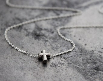 Dainty Silver Cross Necklace - Sterling Silver Simple Cross, Everyday Necklace, Small Minimalist Jewelry, Religious Gift Under 30