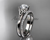 14kt white gold diamond celtic trinity knot wedding ring, engagement set CT7154S