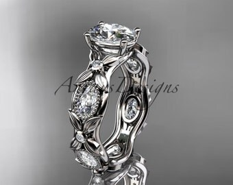 """14kt white gold diamond leaf and vine wedding ring, engagement ring with a """"Forever One"""" Moissanite center stone ADLR152"""