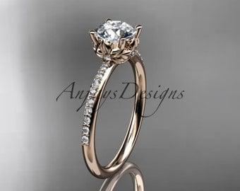 14kt rose gold diamond floral wedding ring, engagement ring ADLR92