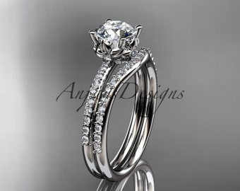 14kt white gold diamond floral wedding ring, engagement set ADLR92S