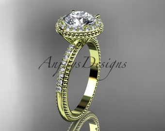 """14kt yellow gold diamond unique engagement ring, wedding ring with a """"Forever One"""" Moissanite center stone ADER95"""