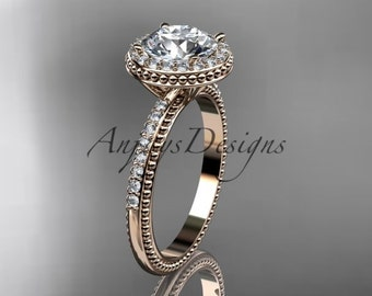 """14kt rose gold diamond unique engagement ring, wedding ring with a """"Forever One"""" Moissanite center stone ADER95"""