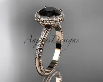 14kt rose gold diamond unique engagement ring, wedding ring with a Black Diamond center stone ADER95