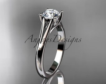 """14kt white gold unique engagement ring, wedding ring, solitaire ring with a """"Forever One"""" Moissanite center stone ADER109"""
