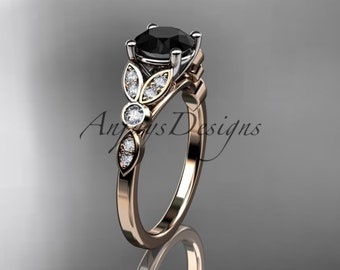 14k rose gold unique engagement ring, wedding ring with a Black Diamond center stone ADLR387