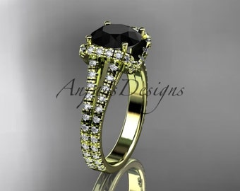 14kt yellow gold diamond unique engagement ring, wedding ring with a Black Diamond center stone ADER107