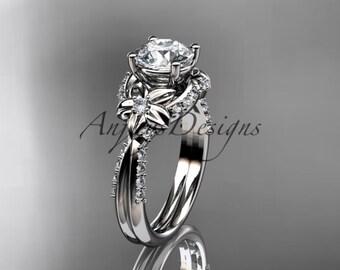 Unique platinum diamond leaf and vine wedding ring,engagement ring ADLR220