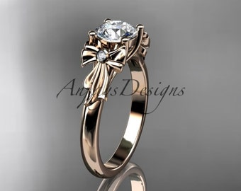 14kt rose gold diamond unique engagement ring, wedding ring ADER154