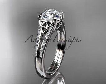 14kt white gold celtic trinity knot engagement ring ,diamond wedding ring CT7108