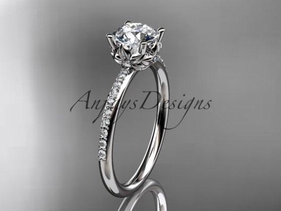 platinum diamond floral wedding ring, engagement ring ADLR92