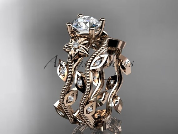 14k  rose gold diamond leaf and vine wedding ring,engagement ring,engagement set ADLR151S