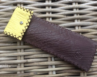 Handstitched multi-colour brown/yellow soft leather pen holder with brown zig zag stitch