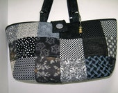 Black and Cream Patchwork Yarn Craft Project Quilted Tote , Library Book Bag, Carryall Tote Bag