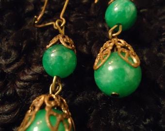 Boho Vintage Inspired Emerald Green Bridal Demure Earrings, One Of A Kind