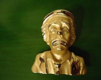 Vintage Gold Tone Clown Pendant