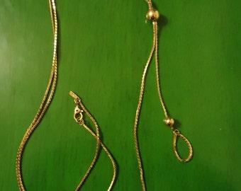 Boho 1970s Vintage Gold Tone Shoestring Necklace, Long One Strand Necklace