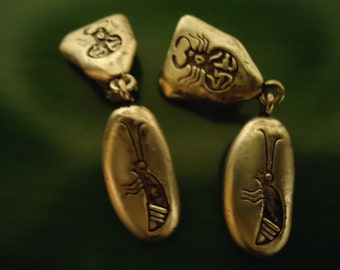 Vintage Scorpion Engraved Clip On Earrongs