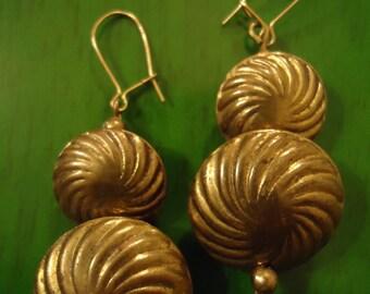 Boho Vintage Bronze Swirl Drop Dangle Pierced Earrings