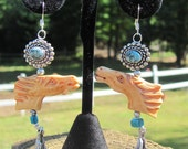 Master of the Plains - Turquoise and Bone Carved Horse Earrings
