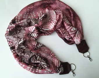Scarf Camera Strap - camera neck strap - dSLR digital cameras - pink and brown scarf (photographer gift)