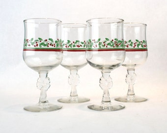 1980s Arbys Holiday Christmas Glasses Holly Berry Bow Gold Rim Water Wine Goblets